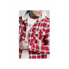 Sik Silk Flannel Shirt Jacket Hood Red/Off White