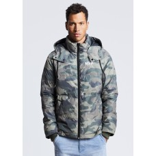 Nena Pasadena Hidden Hooded Puffer Jacket Camo
