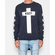 Kiss Chacey Church L/S Curve Hem T-Shirt Acid Navy