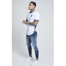 Sik Silk Curved Hem Slide Tee White