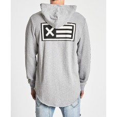 Nena Pasadena Unleash Hell Raw Curved Hem Hooded Sweatshirt Grey Marle